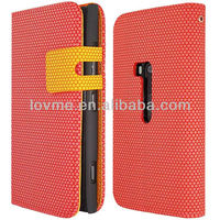 RED FOR NOKIA LUMIA 920 HEXAGON SIDE OPENING WALLET FLIP PU LEATHER CASE COVER