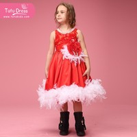 New Design Christmas Children's Costumes Beautiful white Feather Princess Dresses for girl