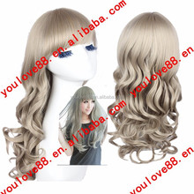 factory price grey long curly cosplay ideas for women with neat bang for Party/Decration/Gift /Cosplay/chrismas L1504L119C