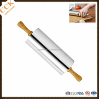 Food Standard Stainless Steel Rolling Pin With Wooden Handle