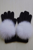 2015 Hot Selling Fox Fur Balls Fingers Wool Knitting Gloves Creative Animal Fur Pompom Cashmere Knitted Mittens