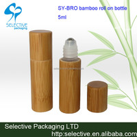 cosmetic packaging empty perfume roll on bottle bamboo package 5ml roll on bottle