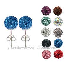 Hot sale Shamballa Czech Crystal Disco Clay Ball Stud Earrings EC-002