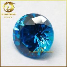 synthetic round brilliant cut 57 facets loose aquamarine cz stone