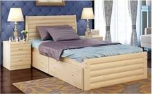 2015 New design metal bed wood leg/queen bed/double