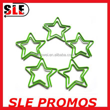 Green Pentagram star shaped color baked paint paper clip