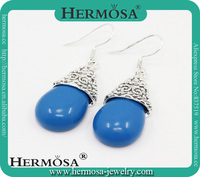 2015 Vintage Culture style mother gift silver 925 blue Purple natural stone drop earring