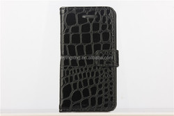 Crocodile pattern genuine leather magnetic leather case for apple iphone 5c