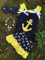 kids baby girls skirt and top model designs toddler girls boutique clothing sets kids summer cotton anchor boutique outfits