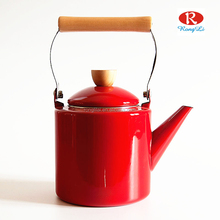 Cast Iron Plain Enamel Coated Porcelain Teapot Popular Red Ceramic Tea Kettle