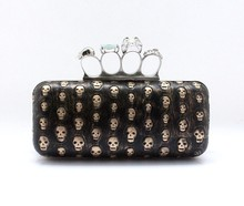 2015 Luxury Old Fashion design lady party box clutch ring skull head evening bag for women