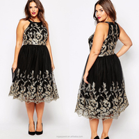 Wholesale party dresses for fat girls plus size embroidered lace prom dress