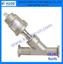 tri-clamp marine angle valve, stainless steel actuator,model KLJZF-25-Q-SS