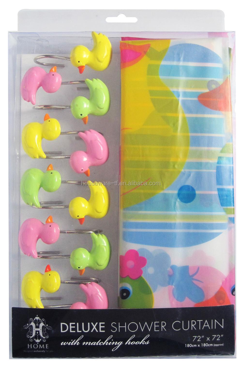 Kleurrijke eend ontwerp van hoge kwaliteit douchegordijn met mat ...