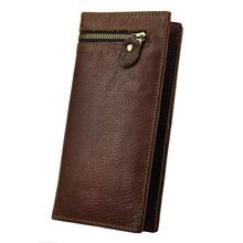 Luxury Vintage Retro 100% Genuine Oil Wax Leather Cowhide Men Long Bifold Wallet Wallets Clutch With Zipper For Men