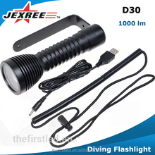 Jexree LED Underwater Torch Light Diving Flashlight for Diving zoomable use Built-in Battery