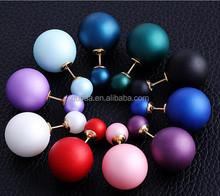 2015 New Fashion Hot Selling Earrings Double Side Shining Pearl Stud Earrings Big Pearl Earrings for Women