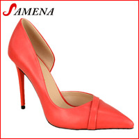 Red color new style hot high heel one side open shoes