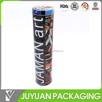 2015 Hot sale cylinder tin tube packaging for wine tin box