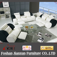 D278 Modern design leather black and white sofa recliner