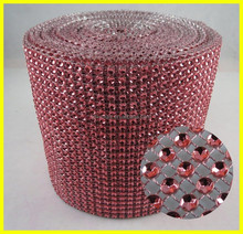 Round LT.Red Plastic Sewing Wholesale Sparkle Party Decoration Ribbon Mesh