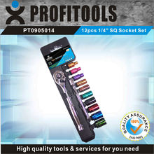 "12pcs 1/4"" CRV color coated SQ car repair tool kit"