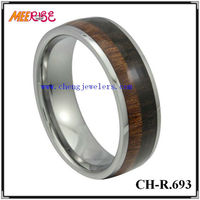 Wholesale Fashion Two Lines Wood Inlay Tungsten Carbid Ring