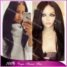 Top 6a quality wholesale cheap price 10-32inch #1b yaki straight virgin mongolian full lace human hair wigs