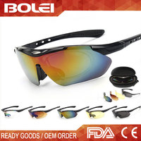 Plastic Sport Cycling Sunglasses with 5 Lens