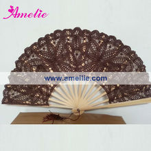 A-Fan076 Cheap price! Battenburg Lace Fan in Brown Color