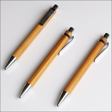 Click action writing instruments wood Bamboos pole promotional pen