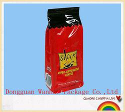 Custom designed aluminum foil coffee bag with one way-degassing valve manufacturer