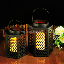 Fashionable Hollow Hexagonal Candle Lantern With Hanging Stand--Set of 2