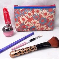 2015 Fashion Floral Satin Make up Bag Coin Purse Pouch