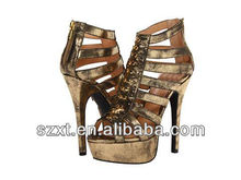 Gold studs fashion lady shoes high heel with platform sandal shoes