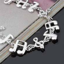 18CM Stamp 925 Gold Or Silver Plated Musical Note Chains Bracelets With Lobster Clasp