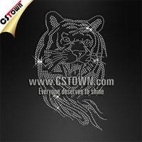 Iron on stone custom pattern rhinestone tiger