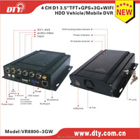 4ch 3g hdd & sd card moible dvr with RS485, cctv car dvr with 3g wifi gps lcd