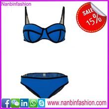 Wholesale blue neoprene brazil bikini for hot summer
