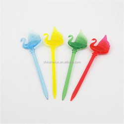 Colorful PS plastic swan fruit fork