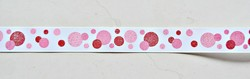 """Red & pinks sparkly polka dots printed on white 7/8"""" grosgrain ribbon- Valentines day"""