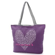 Fashion Durable Love Printing Long Handle Shouler Canvas Tote Bag