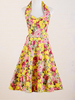a line vintage style yellow floral sexy designer evening dresses for women