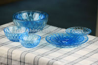 Colored glass dinnerware set