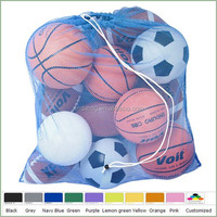Large sports drawstring mesh ball bag fits for 12 balls