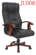 Leather executive Chair with wooden armrest swivel chair K-7708
