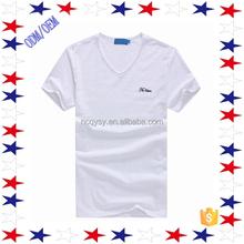 High QualityPlain White V Neck T-shirt Eco-friendly T-shirt For Sale
