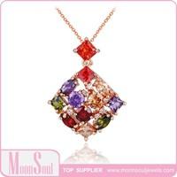 Wholesale Cubic Zirconia Cube Square Diamond Colorful Graceful Necklace N10012 Multi Color