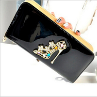 European and American style long section of high-heeled shoes Clutch Liangpi candy colored big purse