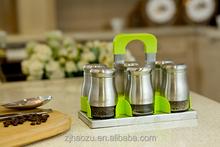Baosiding kitchenware Stainless Steel and glass Salt and Pepper spice jar cruet set
